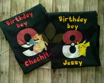 Pokemon birthday shirt. Birthday boy Pokemon. Happy birthday shirt. Pokemon shirt.