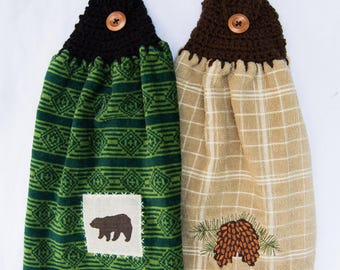Rustic Pinecone and Bear Kitchen Towels - Crochet Top