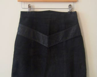 Vintage 80s High Waisted Skirt, Suede with Snakeskin Detail, Black, Size XS