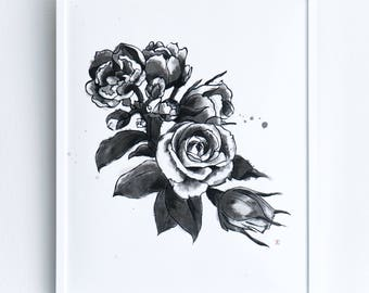 Sumi-ink Painting One-Of-A-Kind-Piece 'Flower'