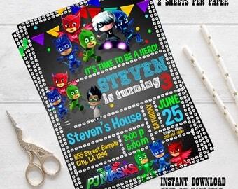 INSTANT download - PJ Masks Invitations, PJ Masks Birthday Party Invitation, owlette - connor, catboy, Greg, Gekkog, editable pdf invitation