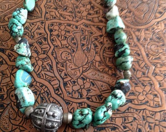 Necklace with vintage silver bullet of the Bedouin