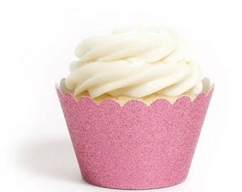 12 Pink Glitter Cupcake Wrappers
