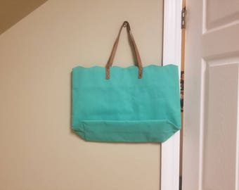 HUGE Scalloped Aqua colored tote