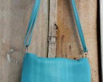 Blue leather crossbody purse