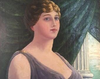 Antique Portrait of a Woman in Grecian Setting / Original Oil Female Portrait / Greek Woman Portrait Art