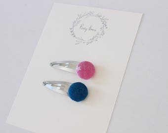 Button clips | pink star + denim blue