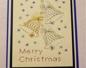 Christmas bells stitched card
