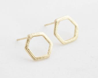 "Geometric earrings ""Hexagon"" gold"