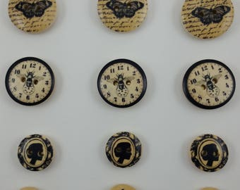 French Vintage-Style Decorative Wooden Button Thumbtacks