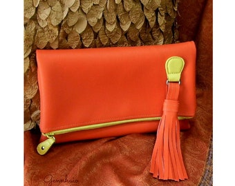 Vegan Leather Orange Clutch Purse, Fold Over Clutch, Clearance Sale, Oversized Clutch Bag, Over-size Clutch Purse, Gift For Her, Re purpose