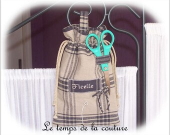 "Kitchen - Reel - Twine - beige and blue tones bag - embroidered ""String"" - hand-made."