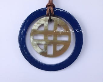 Round Buffalo HORN Pendant Dark blue lacquer 2.75 inches in diameter [TTC032]