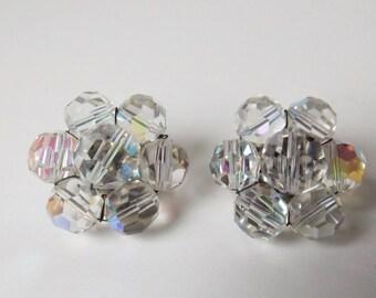 Vintage silver tone crystal clip-on earrings  (#EV295)