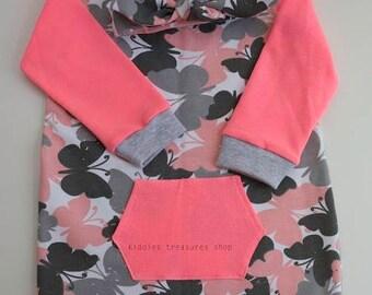 girls jersey dress, pink butterfly dress, matching outfit