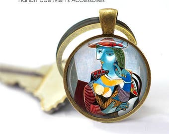 PICASSO Key Ring • Picasso Blue Lady • Pablo Picasso Art • Cubist Art • Abstract Art • Gift Under 20 • Made in Australia (K405)