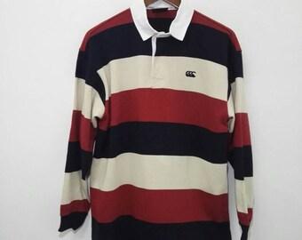 Vintage CANTERBURY Polo Shirt Multicolour Design Long Sleeve