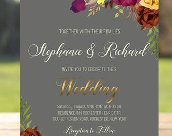 Fall Wedding Invitation Printable Floral Fall Invite Digital Wedding Invitations Marsala Burgundy Autumn Bohemian Wedding Fall Invite WS-027