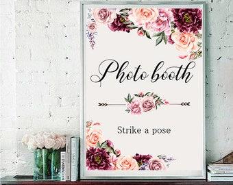Photo booth Wedding Sign Digital Floral Vintage Marsala Burgundy Pink Wedding Boho Printable Bridal Decor Poster Sign 5x7 and 8x10 - WS-030