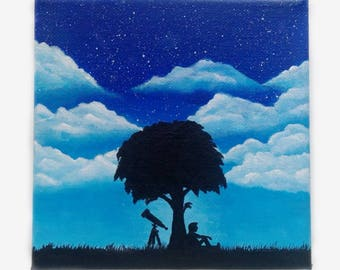Acrylpainting - Clouds - Watching the stars - Sitting under a tree