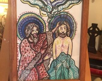 FRAMED Ecce Homo Watercolor