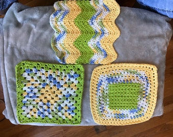 Dishclothes - Crochet Lime / Yellow / Blue - Approx 6 to 8 inch dimension