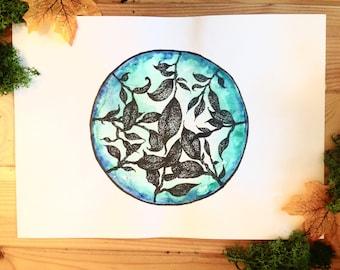 Original artwork, watercolour and ink leaf illustration