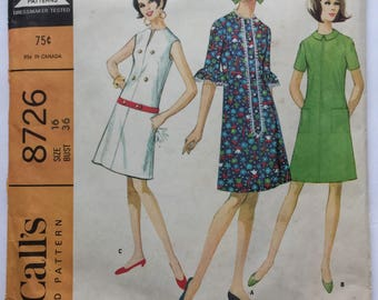 "McCall's 8726 Sewing Pattern Misses ""Easy to Sew"" Dress Vintage 1967 Size 16"