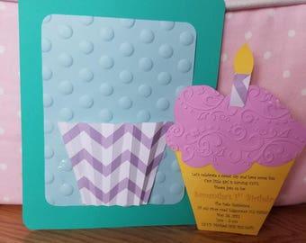customized cupcake invitation, cupcake invitation, cupcake birthday invitations