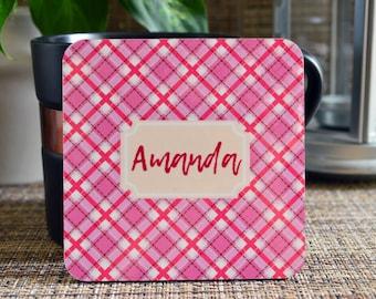 Personalized Coasters, Square Coaster Set, Housewarming Gift, monogrammed coasters, Plaid coasters, Custom Coasters. Wedding Gift. C03