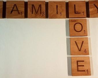 Giant Scrabble Letters, solid oak.