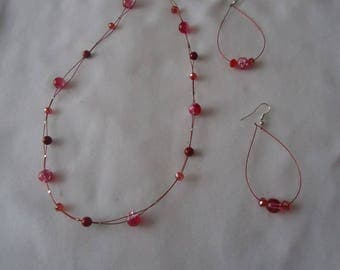 Adornment necklace and earrings with frosted beads