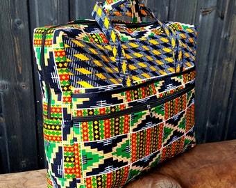 Multi colour Kente laptop bag, padded laptop bag, african print laptop bag.  school bag, book bag, laptop case