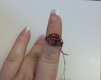 Pink and Brass ring size 6