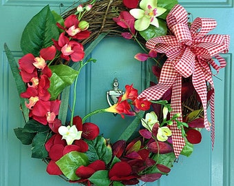 Spring Wreaths for Front Door, Sping Wreath, Wreaths, Springtime Wreath, Front Door Wreath, Springtime Wreath, Red Poppy Wreath And Pink Bow