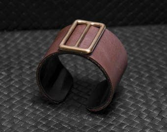 Acrylic (plexiglas/plastic) bracelet, cuff bracelet, brown leather, golden accent, vintage, hand made, one of a kind