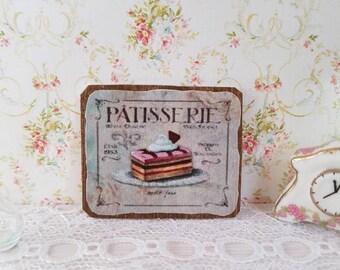 Dollhouse Miniature,Dollhouse Sign,Miniature Sign,Doll house Miniatures,Miniature Wall Plaque,12th Scale, Patisserie Sign