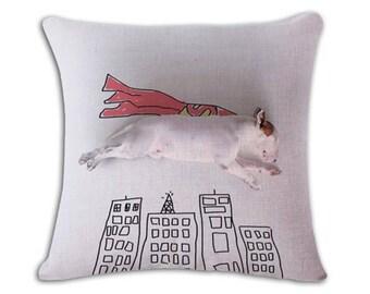 Superman Super dog Bull Terrier Funny Pillow Case