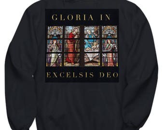 Christian Gift Idea! Adult Hoodie- Unique Gift Idea! Beautiful Stained Glass Nativity Scene- Adult Sizes - 6 BEAUTIFUL COLORS!