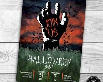 Halloween Invitation | Zombie | Graveyard | Printable | Digital