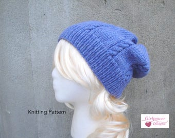 Cable Slouch Hat PDF Knitting Pattern, Beanie Slouch Hat for Women & Teen Girls, Worsted Cascade 220