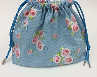 Blue with Flowers Cosmetics/Toiletries Drawstring bag. Ideal gift.