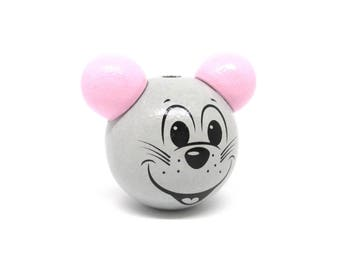 Wooden 3D grey clear & Rose Tendre mouse head bead