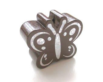 Butterfly Glitter - Chocolat wooden bead