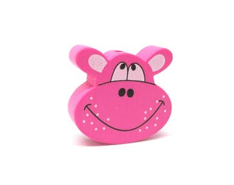 Head of Hippo Fuchsia wooden bead