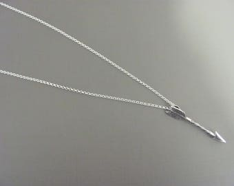 Sterling Silver Arrow Pendant, Mens Arrow Necklace,  Archer necklace, Love Arrow necklace, Biker necklace, Gift for him , Boyfriend gift,
