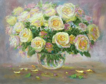 ORIGINAL Large OIL on canvas PAINTING floral still life painted flowers bouquet  ivory roses classical fine art wall home decor 14x20""