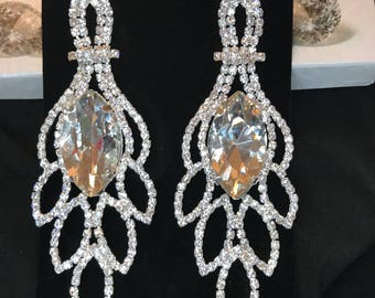 Silver and Clear Crystal Chandelier Pierced Earrings