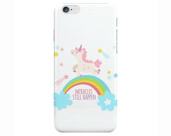 Unicorn Miracles Pink White Phone Case Cover for Apple iPhone 5 6 6s 7 8 Plus & Samsung Galaxy S6 S7 S8 Plus