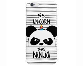 Unicorn Ninja Cute Funny White Black Phone Case Cover for Apple iPhone 5 6 6s 7 8 Plus & Samsung Galaxy S6 S7 S8 Plus